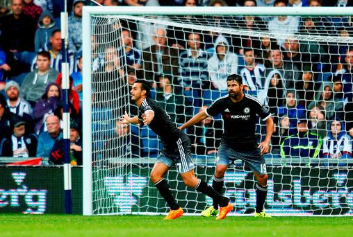 Pedro of Chelsea celebrates scoring the opening goal during the Barclays Premier League match between West Bromwich Albion and Chelsea at The Hawthorns on August 23, 2015 in West Bromwich, England. (Photo by Julian Finney/Getty Images)