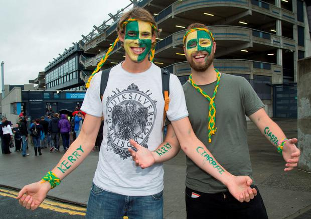 Kerry fans Ben Cailes from Melbourne & Richard Turner from London , heading to see Kerry V's Tyrone in the All-Ireland Senior Football semi-final today at Croke Park. 23/8/2015 Picture by Fergal Phillips