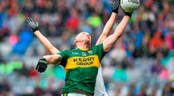 23 August 2015; Kieran Donaghy, Kerry, in action against Justin McMahon, Tyrone. GAA Football All-Ireland Senior Championship, Semi-Final, Kerry v Tyrone. Croke Park, Dublin. Picture credit: Ramsey Cardy / SPORTSFILE