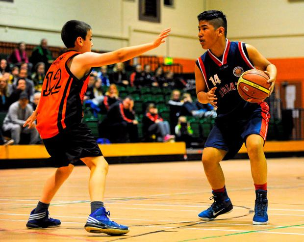 23 August 2015; Action from the U13 & O10 Boys Basketball match between Drimnagh/Inchicore, Co. Dublin and Rathmore/Gneeveguilla, Co. Kerry. HSE National Community Games Festival, Weekend 2. Athlone IT, Athlone, Co. Westmeath. Picture credit: Seb Daly / SPORTSFILE