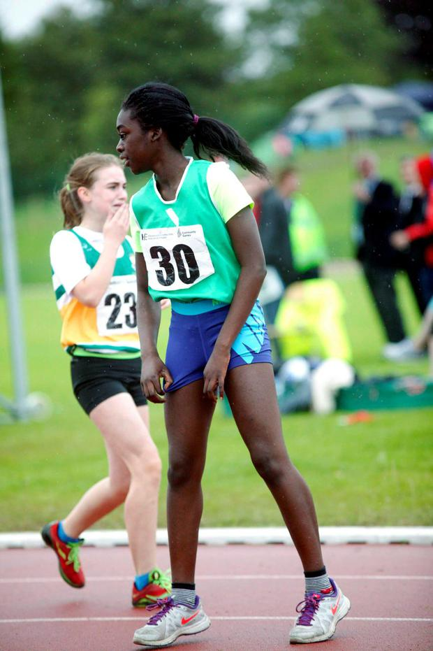Sally Dickson from Limerick after winning the 100 metres U12 with runner up Katelyn Farrelly from Offaly at the 2015 Community Games at Athlone IT last Sunday. Photo Molloy Photography.