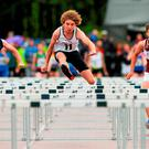 23 August 2015; Mark Hughes, Tullycorbet, Co. Monaghan, left, Lucas Moylan, Suncroft-Curragh, Co. Kildare, centre, and Makyle Hope, Kinnegad-Coralstown, Co. Westmeath, right, competing in the Boys U14 & O12 80 metres hurdles. HSE National Community Games Festival, Weekend 2. Athlone IT, Athlone, Co. Westmeath. Picture credit: Seb Daly / SPORTSFILE
