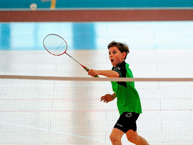 23 August 2015; Dillion Delaney, St. Lazerians, Co. Carlow, competing in the Boys U15 & O12 Badminton. HSE National Community Games Festival, Weekend 2. Athlone IT, Athlone, Co. Westmeath. Picture credit: Seb Daly / SPORTSFILE