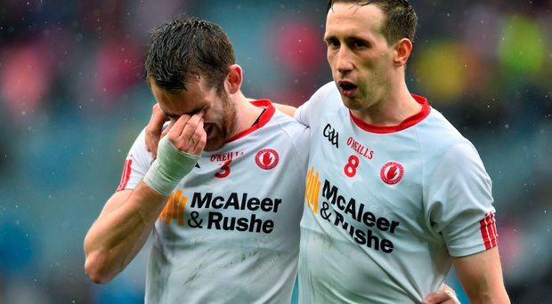 Tyrone's Ronan McNamee, left, and Colm Cavanagh following their side's defeat. GAA Football All-Ireland Senior Championship, Semi-Final, Kerry v Tyrone. Croke Park, Dublin. Picture credit: Ramsey Cardy / SPORTSFILE