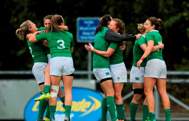 23 August 2015; Ireland players celebrate after the game. Women's Sevens Rugby Tournament, Finals, Ireland v South Africa. UCD, Belfield, Dublin. Picture Credit; Eóin Noonan