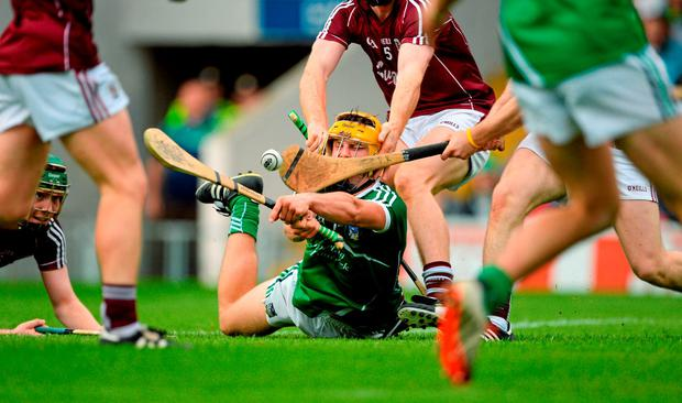 Tom Morrissey scores Limerick's goal during their All-Ireland U-21 hurling semi-final against Galway at Semple Stadium