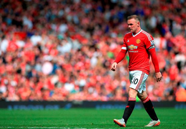 A disappointed Wayne Rooney at Old Trafford