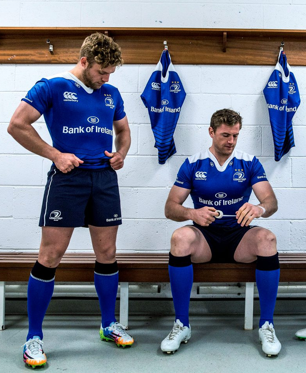 Ian Madigan and Jamie Heaslip at the the launch of the new 2015/16 season Leinster jersey
