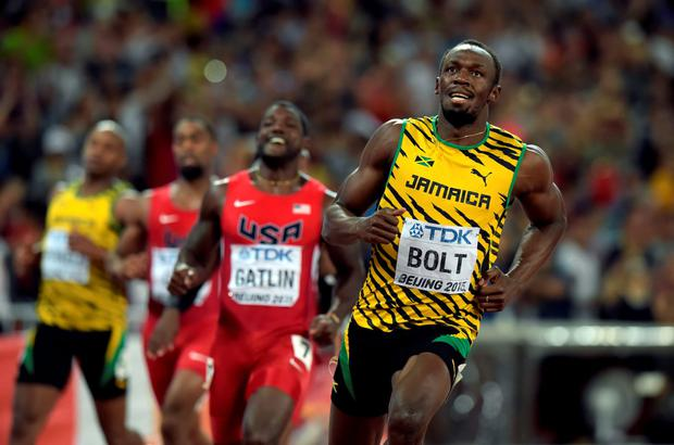 Usain Bolt wins gold in the men's 100 metres final at the 15th IAAF World Athletics Championships in Beijing