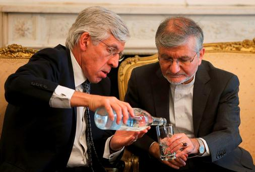 Former Labour foreign secretary Jack Straw with Iran's deputy foreign minister Mehdi Danesh Yazdi. Straw never succeeded in tracking down the hiding place of Iran's 'moderates'