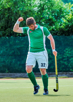 28 June 2014: Ireland's Shane O'Donoghue celebrates after scoring his side's third goal. Men's International Hockey, Ireland v Wales, National Hockey Stadium, UCD, Belfield, Dublin. Picture credit; Ashleigh Fox / SPORTSFILE
