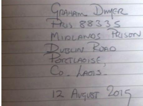 Graham Dwyer's prison address