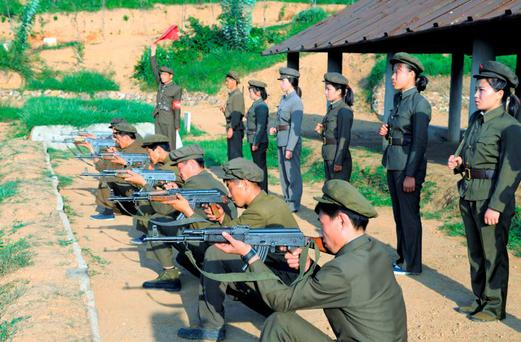 North Koreans who signed up to join the army train in the midst of political tension with South Korea. Photo: Reuters