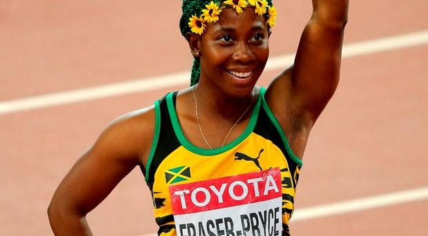 Shelly-Ann Fraser-Pryce after winning gold in the Women's 100 metres final