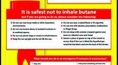 The warning poster issued about the dangers of inhaling butane gas