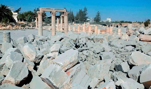 This undated photo released Tuesday, Aug. 25, 2015 on a social media site used by Islamic State militants, which has been verified and is consistent with other AP reporting, shows the demolished 2,000-year-old temple of Baalshamin in Syria's ancient caravan city of Palmyra. (Islamic State social media account via AP)