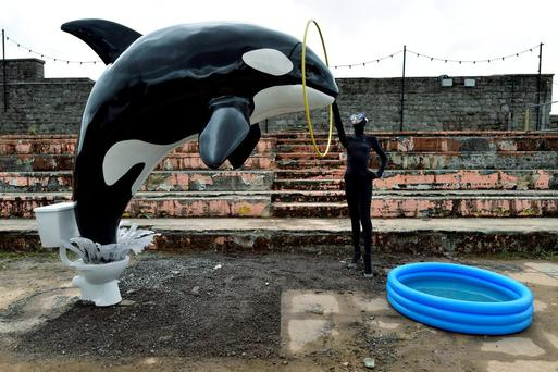 An installation is pictured at 'Dismaland', a theme park-styled art installation by British artist Banksy, at Weston-Super-Mare in southwest England, Britain, August 20, 2015. REUTERS/Toby Melville