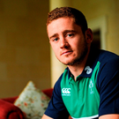 Ireland's Paddy Jackson poses for a portrait after a press conference. Ireland Rugby Press Conference. Carton House, Maynooth, Co. Kildare. Picture credit: Seb Daly / SPORTSFILE