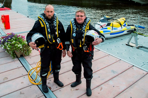 Father and son team Tony and Tom Cusack at the new pontoon in Limerick city Photo: Alan Place