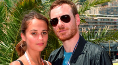 Michael Fassbender pictured with Alicia Vikander