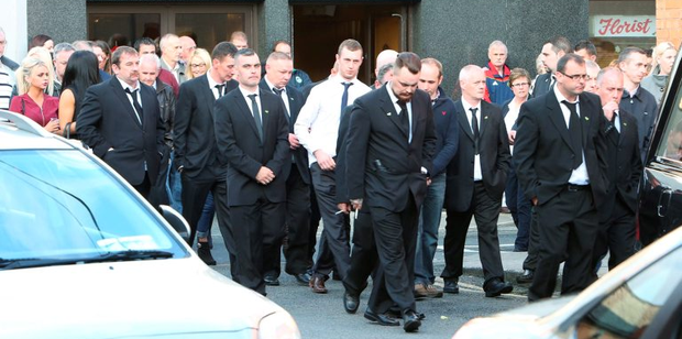 Crowds at the removal of Jason Corbett last night from Cross's Funeral home in Limerick