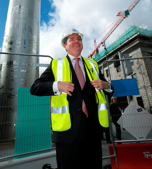 Transport Minister Paschal Donohoe at the commencement of the main Luas cross-city track-laying works on Dublin's O'Connell Street last month. Now the minister is facing widespread industrial unrest in the transport sector. Photo: Frank McGrath