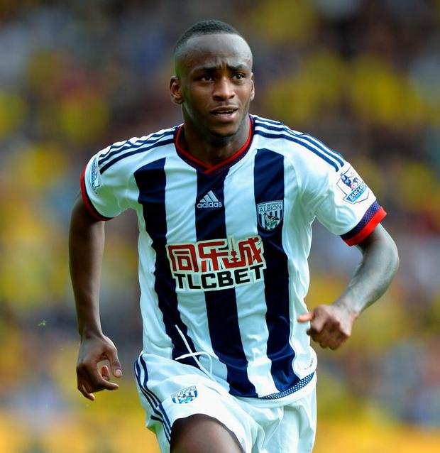 WATFORD, ENGLAND - AUGUST 15: Saido Berahino of West Bromwich Albion during the Barclays Premier League match between Watford and West Bromwich Albion at Vicarage Road on August 15, 2015 in Watford, United Kingdom. (Photo by Tony Marshall/Getty Images)