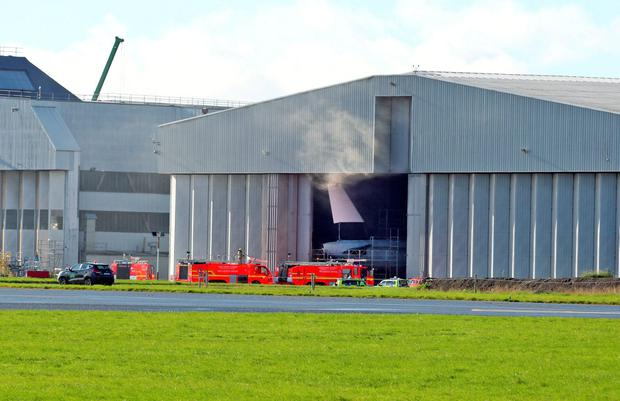 The scene of a fire in hanger 3 at Dublin Airport this morning... Picture Colin Keegan, Collins Dublin.