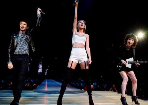 Taylor Swift on stage with Beck and St Vincent. PIC: Taylor Swift Twitter