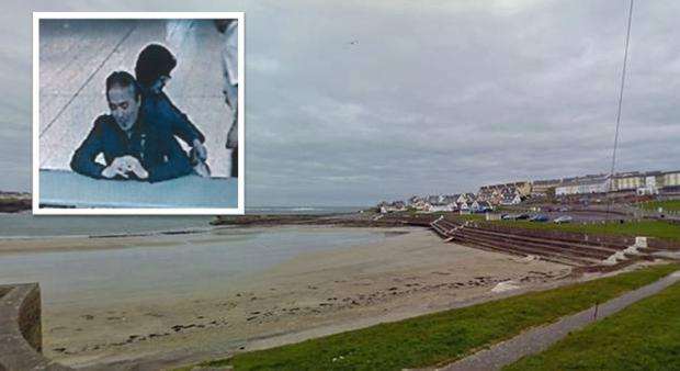 Kilkee Bay where the search is centred. Inset: Male American and Japanese national Eiji Takagi (63) and female Japanese national Ushio Azaki (61)