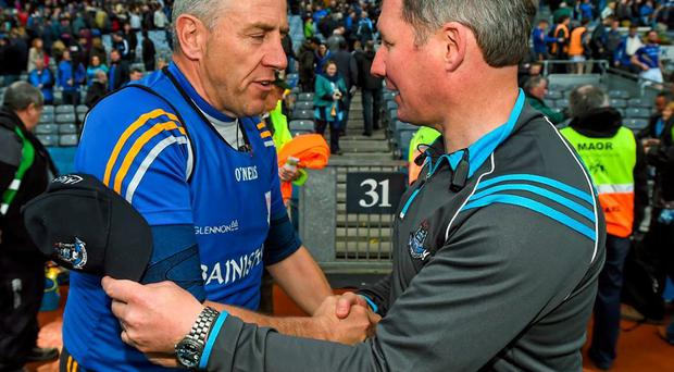 Jack Sheedy shakes Jim Gavin's hand after Longford's defeat at the hands of Dublin in the Leinster SFC quarter-final