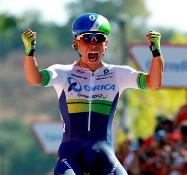 Orica-GreenEdge's Australian cyclist Caleb Ewan celebrates winning the fifth stage of the Vuelta