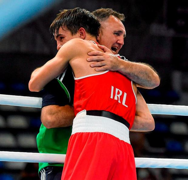 Billy Walsh celebrates with Michael Conlan after the Belfast boxer's victory in the final at the European Championships earlier this month
