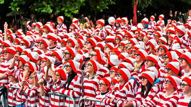 Most Where's Wallys: 3657 people descended on Merrion Square in Dublin in June 2011 dressed in the cartoon character's trademark striped jumper and oversized glasses