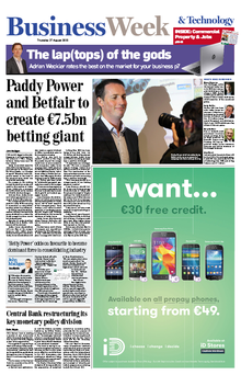 The front page of this morning's Irish Independent business supplement