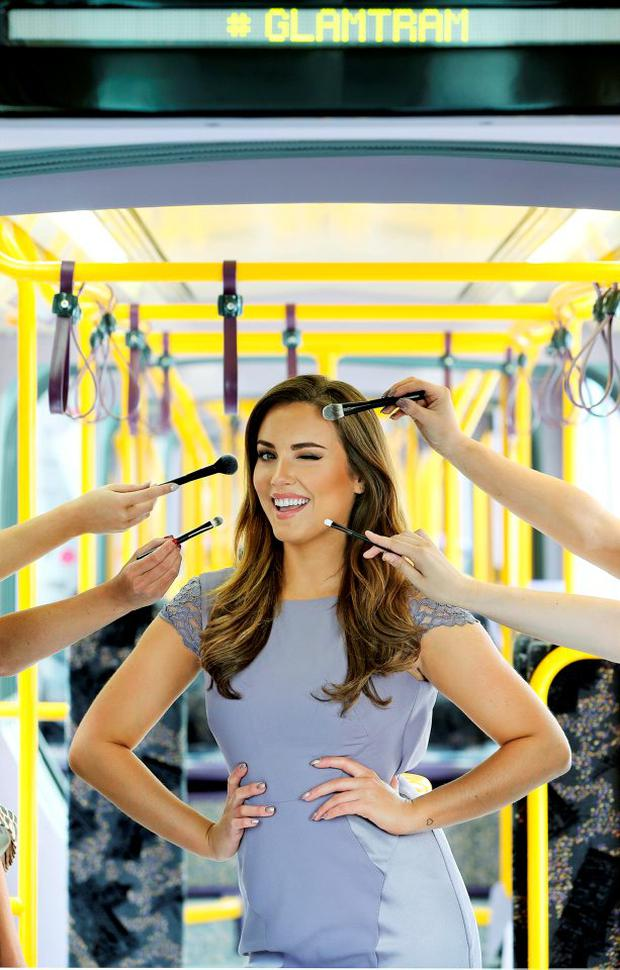 Pictured here at the Dublin Fashion Festival Luas #GlamTram, top Irish model Holly Carpenter