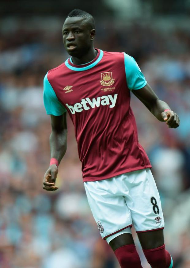 Cheikhou Kouyate of West Ham in action during the Barclays Premier League match between West Ham United and Leicester City at the Boleyn Ground on August 15, 2015 in London, United Kingdom. (Photo by Michael Regan/Getty Images)