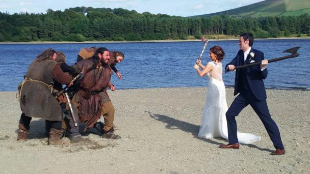 Zara Johnston and David Reardon's viking wedding photo. Picture: Facebook