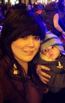 Beth Amison (23) with her baby Maison who died after choking on a nappy sack
