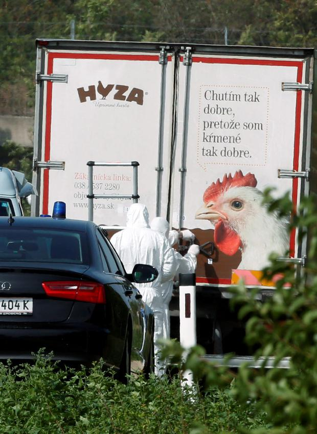 Forensic investigators working on the truck were between 20 and 50 migrants were found dead on the A 4 highway in Austria Credit: DIETER NAGL/AFP/Getty Images
