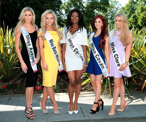 (Left to Right) Sacha Livingston, Michaela O'Neill, Rosalyn Odujebe, Amanda Brady and Elaine Galvin pictured when the finalists in this year's Miss Ireland 2015. Picture: Brian McEvoy
