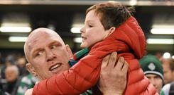Ireland's Paul O'Connell and his son Paddy