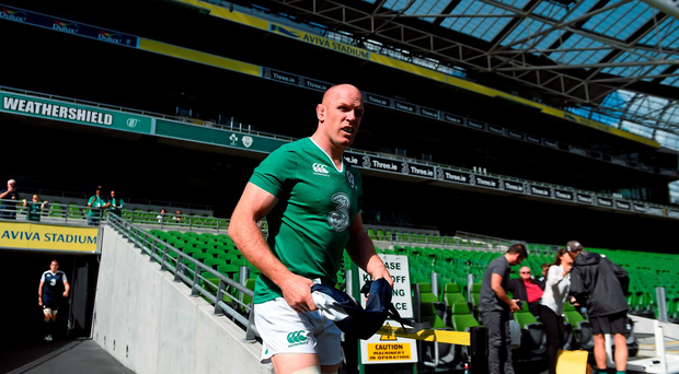 Ireland's Paul O'Connell makes his way out for the captain's run