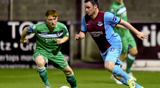 Keith Treacy of Drogheda United in action against Limerick's Darragh Rainsford