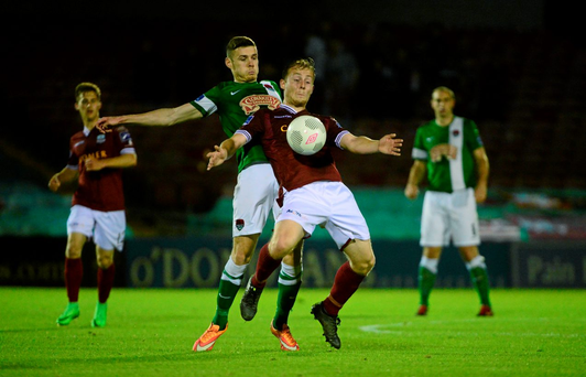 David O'Leary of Galway United in action against Cork City's Garry Buckley