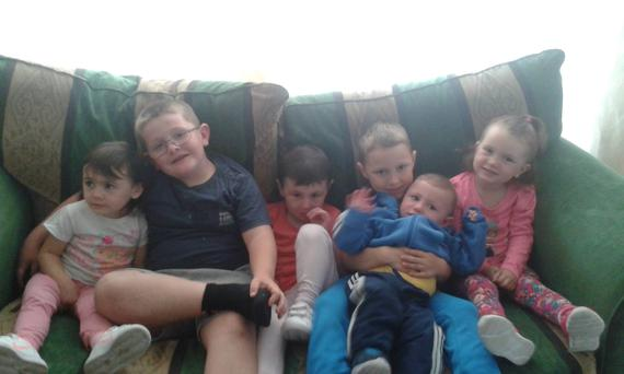 Some of the younger members of the family at their home. Photo: Lana Warner