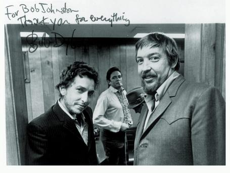 Legend: Bob Johnston with Dylan and Cash in 1969.