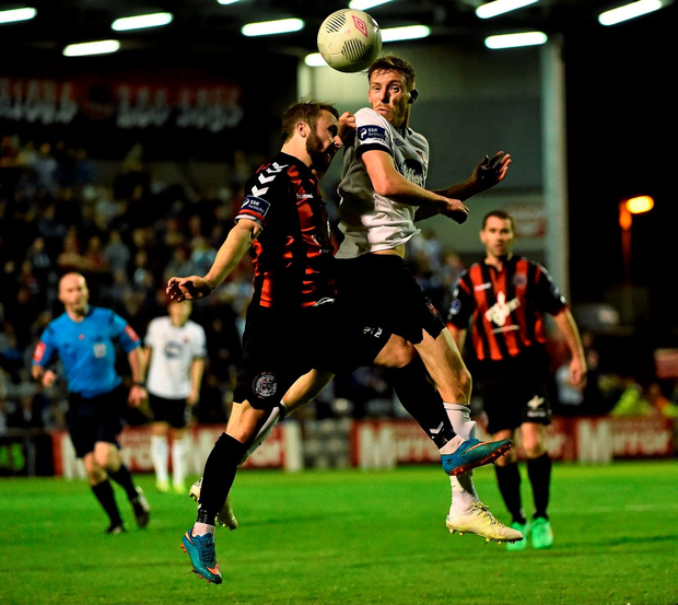 Dundalk's David McMillan in action against Bohemians' Dylan Hayes during their SSE Airtricity League Premier Division match at Dalymount Park