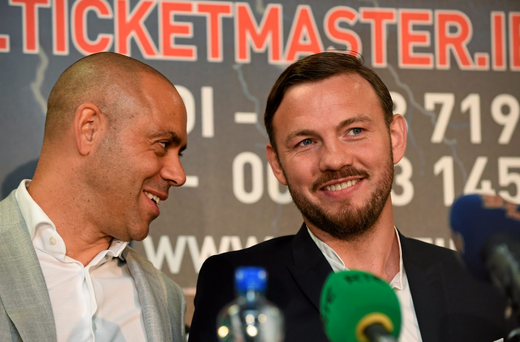 WBO world champion Andy Lee, right, alongside his trainer Adam Booth
