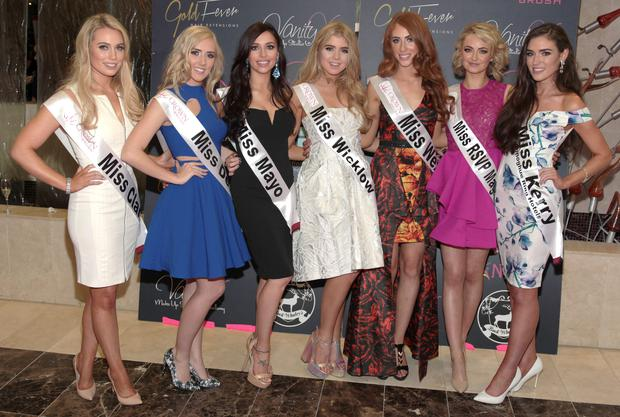 Finalists pictured at the 2015 Miss Ireland Final in the Crowne Plaza Northwood in association with Gold Fever and Crown Brush. Picture: Brian McEvoy.